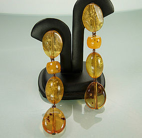 Statement Genuine Cut Polished Amber Long Drop Earrings