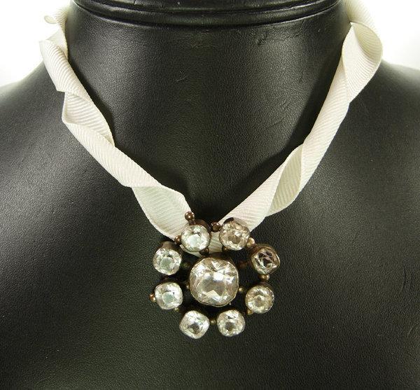 Antique Georgian Silver Brooch: Black Dot Paste Stones