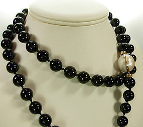 1970s 14K Gold Double Mabe Pearl Onyx 36 Inch Necklace