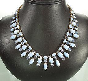 C 1970 Signed Schreiner Blue Glass Stones Necklace