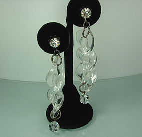 C 1990 French Couture Lucite Strass Glass Earrings