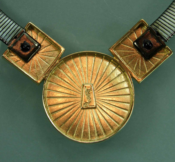 Glam 1980s Deco Revival YSL Necklace Red Gold Gunmetal