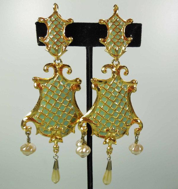 Huge '94 Christian Lacroix 18th C Style Enamel Earrings