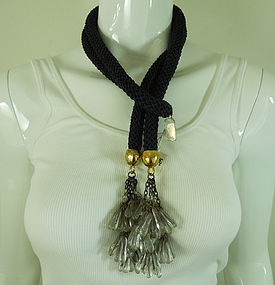 Amazing 80s Moschino Lariat Poured Glass Necklace Italy