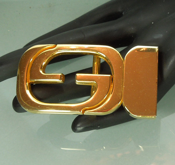 1970s Signed Gucci Italy Double G Belt Buckle Goldtone