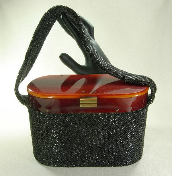 1940s Black Glass Caviar Beaded Tortoise Lucite Bag