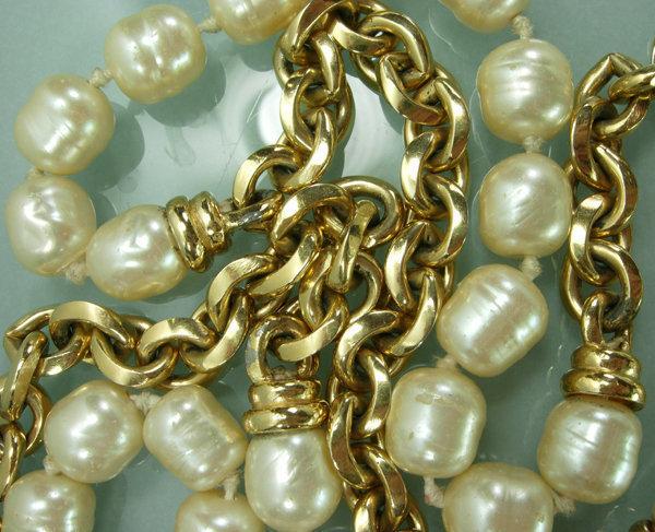 French Glass Pearls Chain 42 Inch Sautoir Attr Chanel