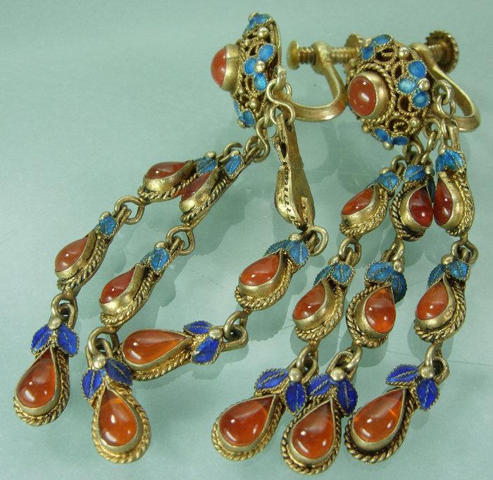 Chinese Export Silver Gilt Enamel Carnelian Earrings