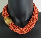 16 Strnd Mediterranean Salmon Coral Gilt Metal Necklace