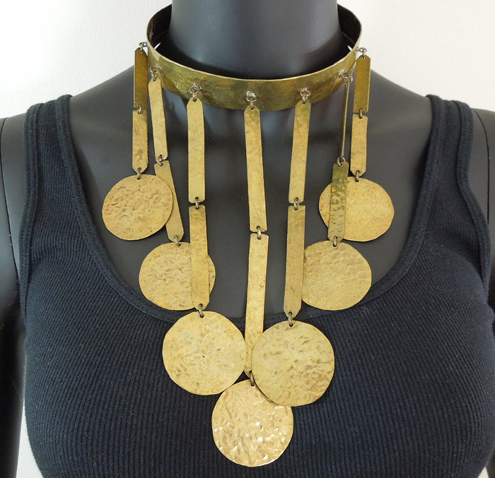Huge 70s Modernist Tribal Style Hammered Drops Necklace