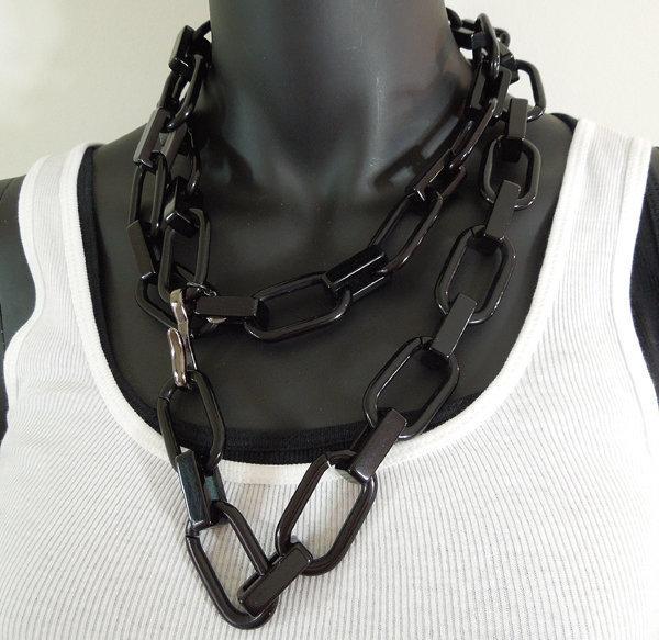 Ben-Amun C 1990 Black Resin 48 Inch Runway Necklace