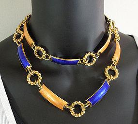 "70s Gucci Italy Orange Blue Enamel 36"" Necklace / Belt"