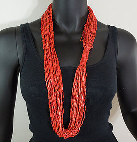 1980s Coral Glass and Raffia Italian Conterie Necklace