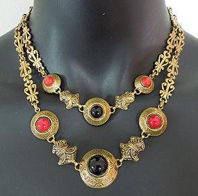 1940s Renaissance Style Poured Glass Necklace France