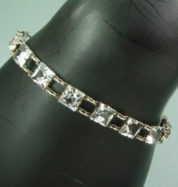 1920 Art Deco Sterling Silver Paste Riviere Bracelet