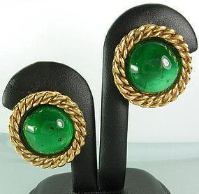 Chanel Green Gripoix Poured Glass Rope Twist Earrings