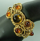70s Runway Lucien Piccard Topaz Poured Glass Bracelet