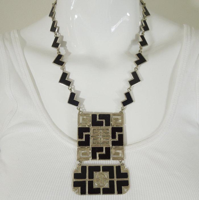 70s Givenchy Mod Black Enamel Silver Logo Necklace