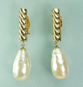 80s Lagerfeld Gripoix Glass Baroque Pearl Drop Earrings