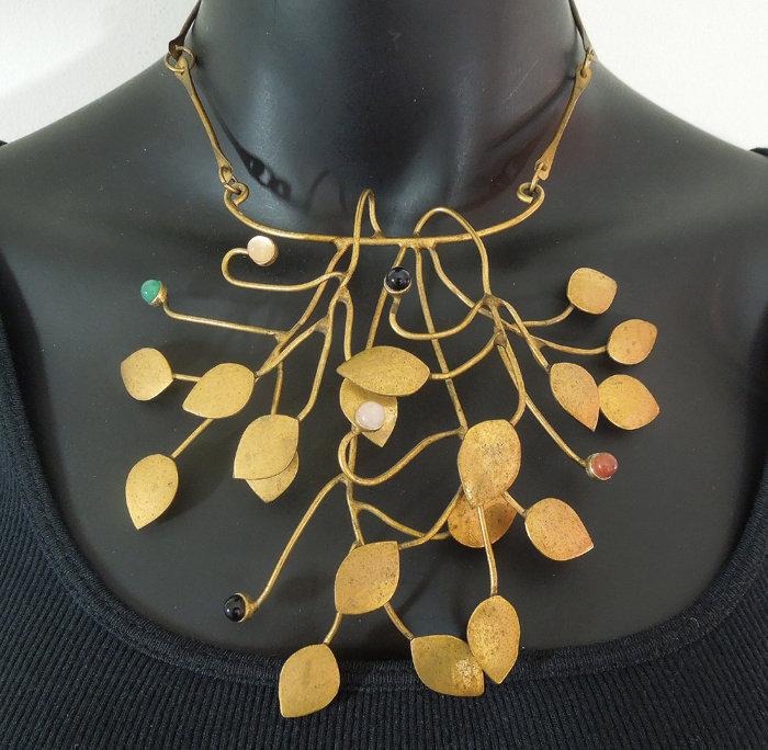 1960s Studio Modernist Necklace Semi Precious Stones