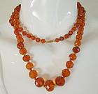 Antique Faceted Honey Amber 14K Gold Long Necklace