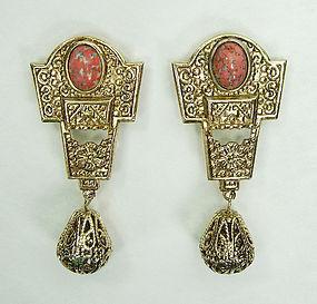 70s Statement Byzantine Earrings Easter Egg Stones
