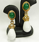 70s Couture Byzantine Earrings Green Poured Glass