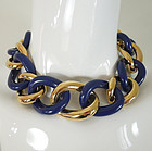 70s Givenchy Blue Lucite Goldtone Chain Necklace Set