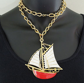 Very Big 1970s Trifari Enameled Sailboat Necklace