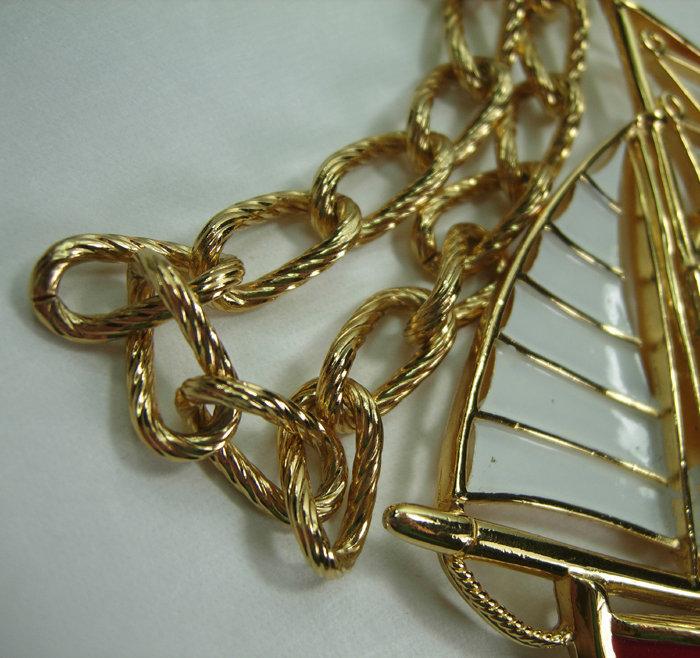 Very Big 1970s Trifari Enameled Sailboat Necklace