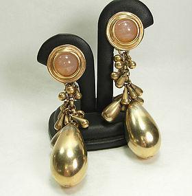 1980s Heavy Clustered Drops Rose Quartz Earrings