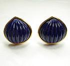 1980s Yves Saint Laurent Lapis Poured Glass Earrings
