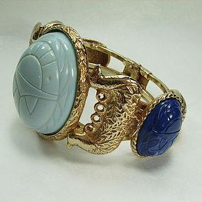 Huge 1970s Egyptian Style Blue Scarab Clamper Bracelet