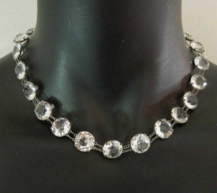 1930s Deco Bezel Crystal Necklace Large Stones Germany
