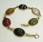 1950 14KT Gold Green Red Black Agate Scarab Bracelet