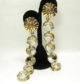80s Poggi Paris Ornate Glass 5 Inch Long Drop Earrings