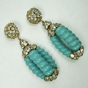 60s Statement Earrings Faux Turquoise Brilliant Stones