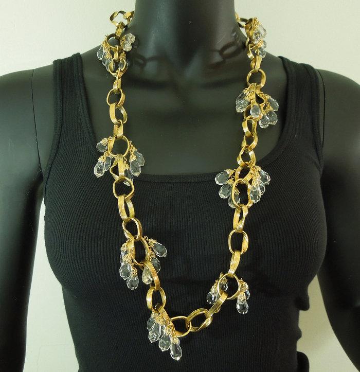 80s Balenciaga Necklace Cascading Glass Drops Links Goossens Design