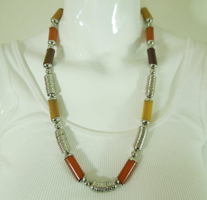 French Art Deco Modernist Chrome Amber Bakelite Necklace