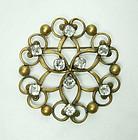 C 1940 Joseff of Hollywood Celtic Crystal Large Brooch