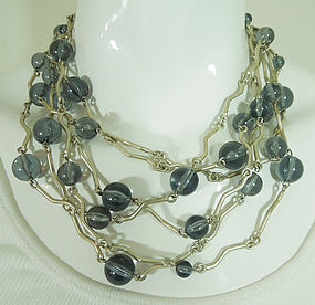 1990 Biche de Bere France Modernist Runway Necklace Blue Gray Lucite