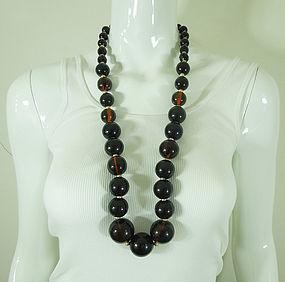 1970s Huge Statement Dark Amber Lucite Matte Goldtone Necklace