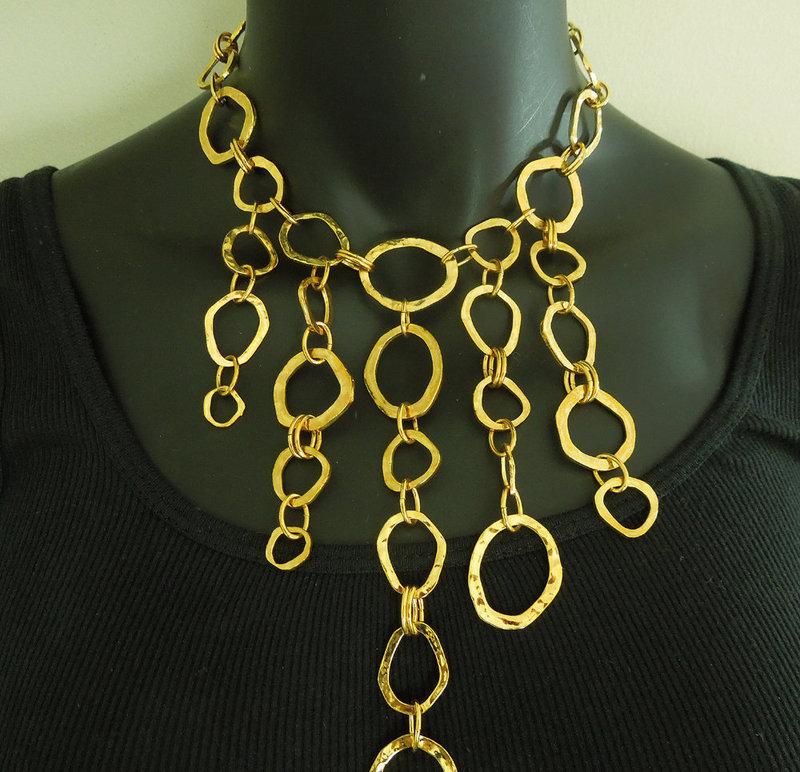 80s Cecile Jeanne Paris Runway Necklace Modernist Asymmetrical