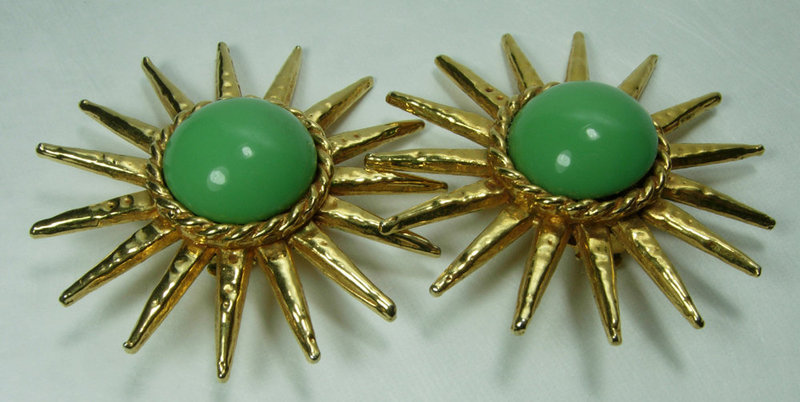 1980s Philippe Ferrandis Paris Green Poured Glass Earrings Runway