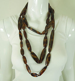 Huge Monies Horn Necklace 84 Inches Faux Tortoise Statement