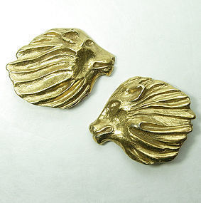 1980s Yves Saint Laurent Lion Head Earrings Goossens Design