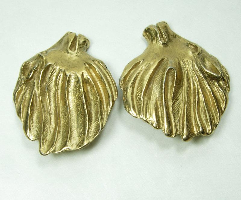 1980s Yves Saint Laurent Lion Head Earrings Goossens Design