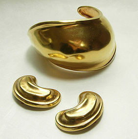 1980s Robert Lee Morris Modernist Cuff Bracelet Earrings