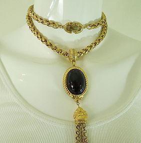 1970s Givenchy Runway Necklace Black Glass Pendant Byzantine Style