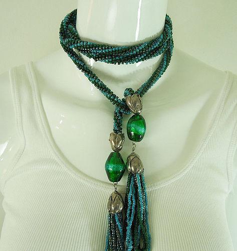 70s Wiener Werkstatte Style Blue Green Poured Glass 47 Inch Necklace